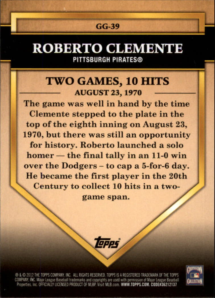 2012 Topps Golden Greats #GG39 Roberto Clemente