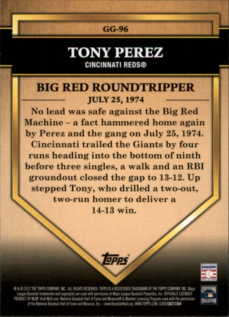 2012 Topps Golden Greats #GG96 Tony Perez back image