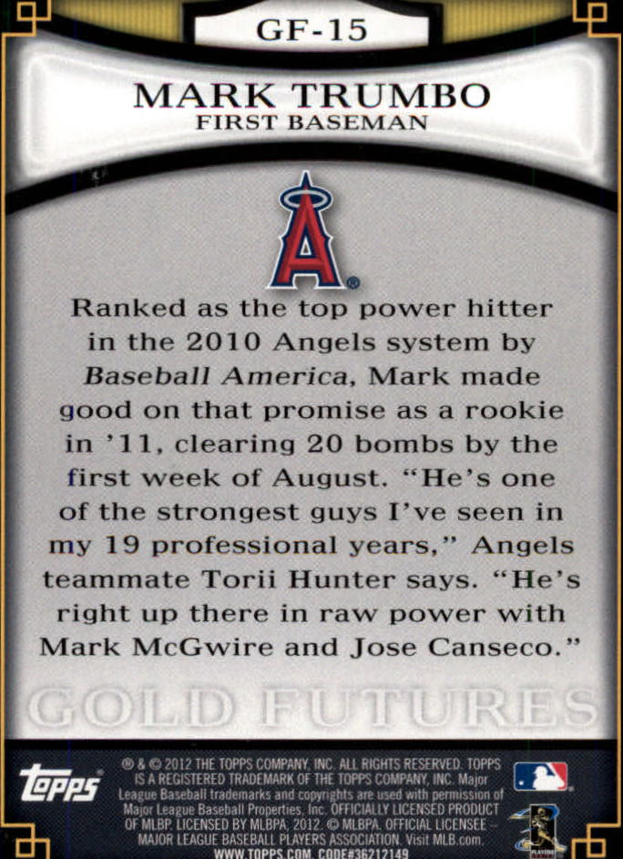 2012 Topps Gold Futures #GF15 Mark Trumbo back image