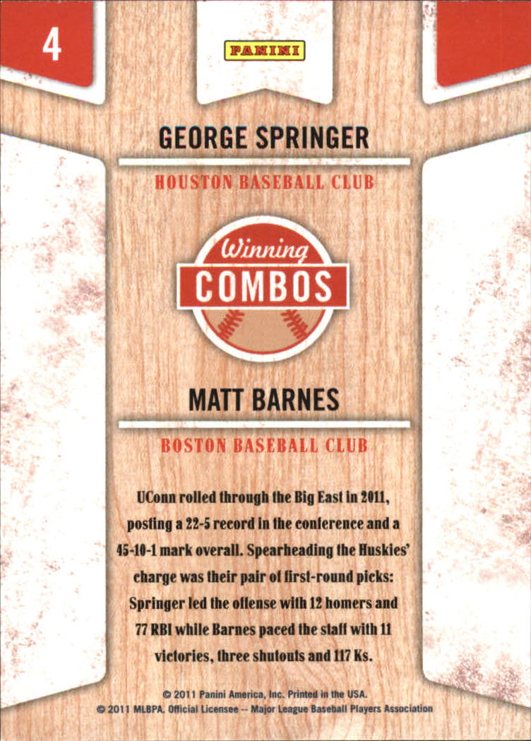 2011 Playoff Contenders Winning Combos #4 George Springer/Matt Barnes