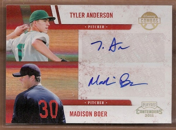 2011 Playoff Contenders Winning Combos Autographs #16 Tyler Anderson/Madison Boer/99