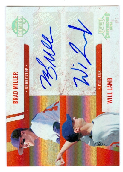 2011 Playoff Contenders Winning Combos Autographs #6 Brad Miller/Will Lamb/49