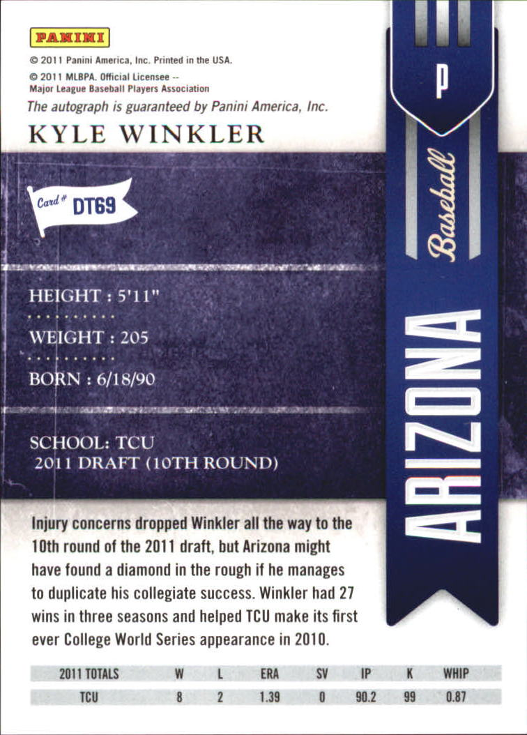 2011 Playoff Contenders Draft Ticket Autographs #DT69 Kyle Winkler back image
