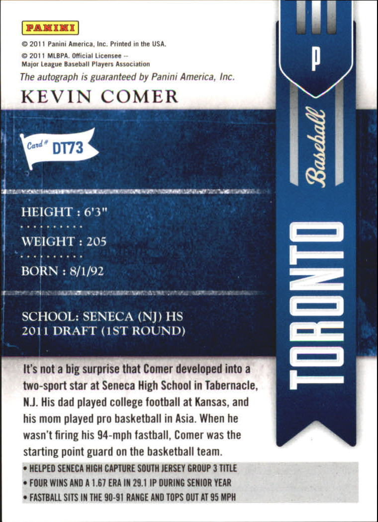 2011 Playoff Contenders Draft Ticket Autographs #DT73 Kevin Comer back image