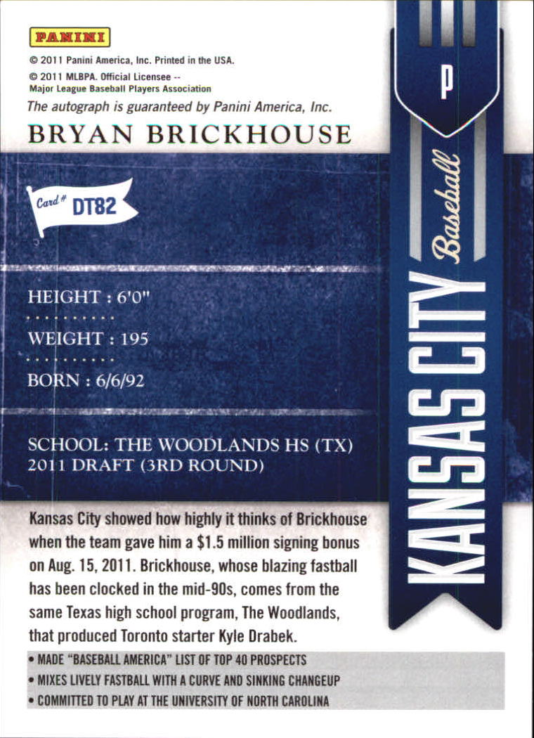 2011 Playoff Contenders Draft Ticket Autographs #DT82 Bryan Brickhouse/290 * back image