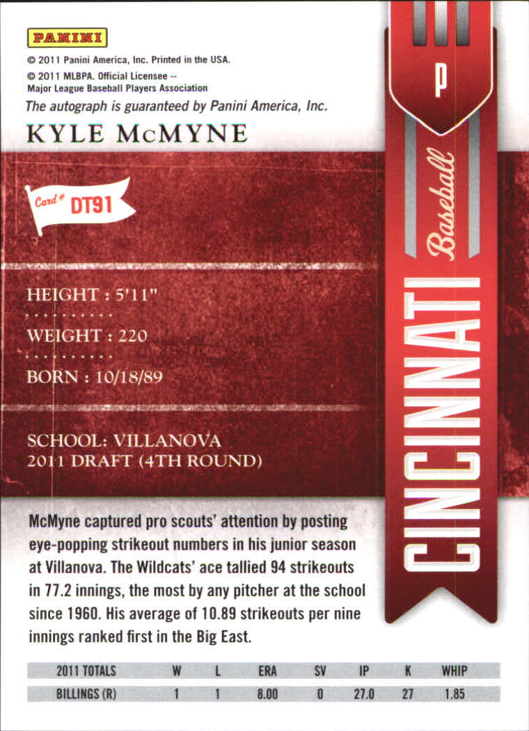 2011 Playoff Contenders Draft Ticket Autographs #DT91 Kyle McMyne back image