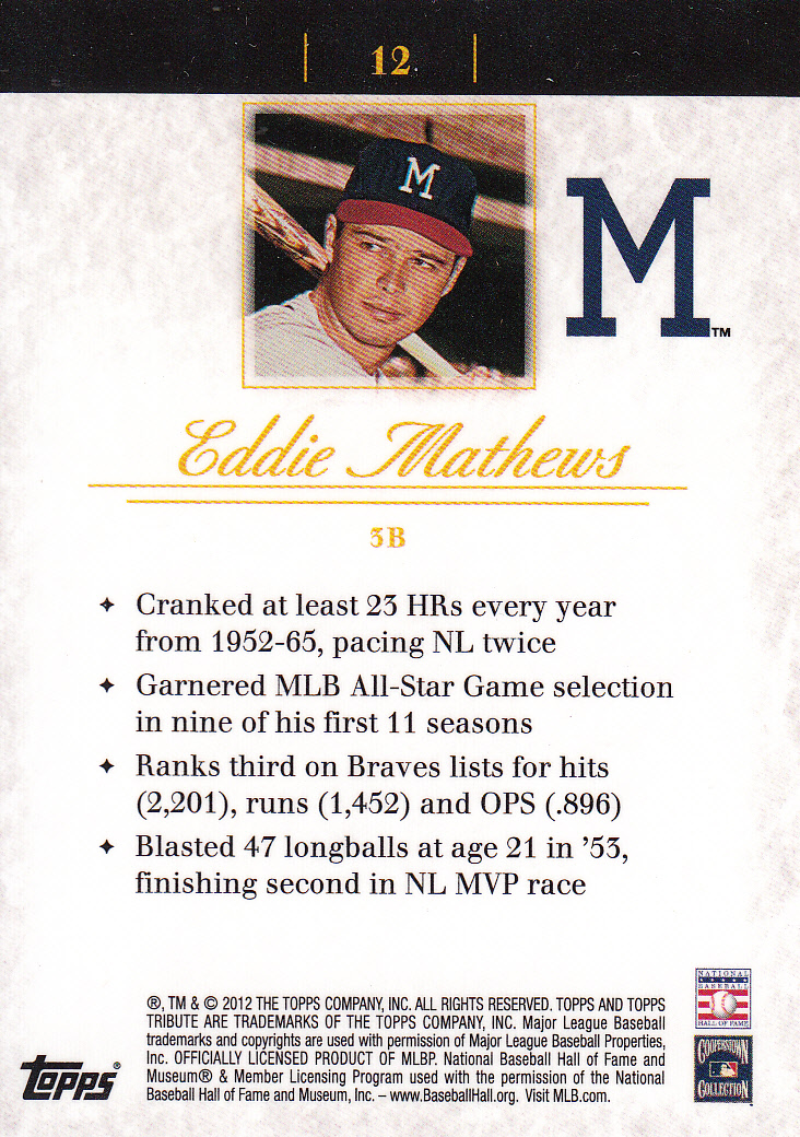 2012 Topps Tribute #12 Eddie Mathews back image