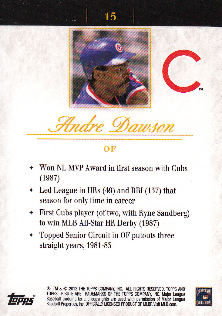 2012 Topps Tribute #15 Andre Dawson back image