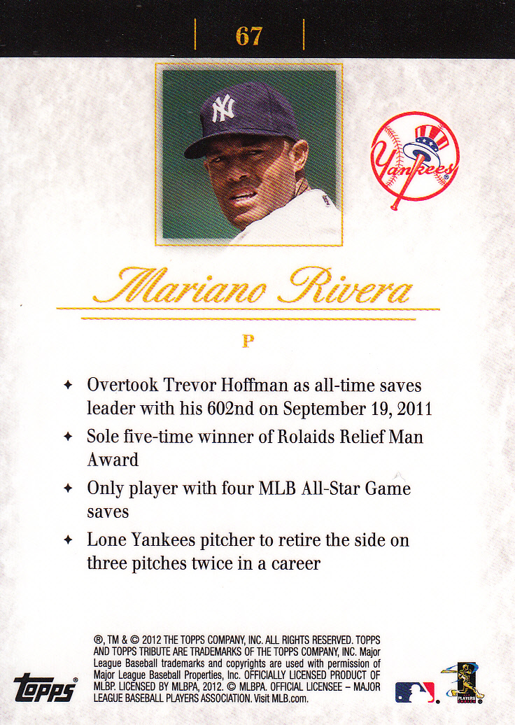 2012 Topps Tribute #67 Mariano Rivera back image