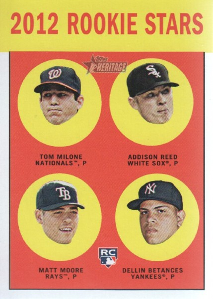 2012 Topps Heritage #286 Tom Milone RC/Addison Reed RC/Matt Moore RC/Dellin Betances RC