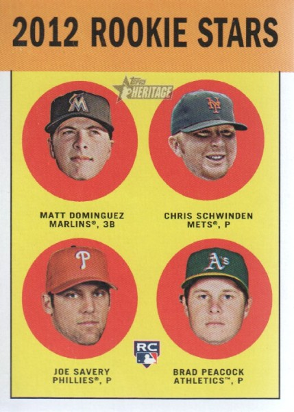 2012 Topps Heritage #362 Matt Dominguez RC/Chris Schwinden RC/Joe Savery RC/Brad Peacock RC
