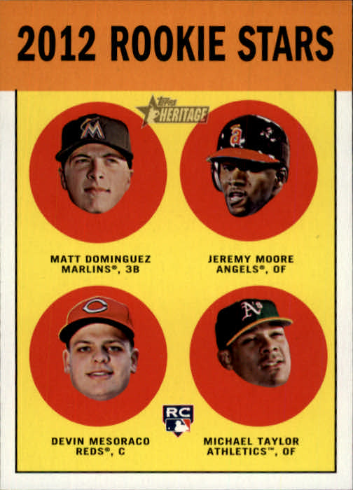 2012 Topps Heritage #407 Matt Dominguez RC/Jeremy Moore RC/Devin Mesoraco RC/Michael Taylor RC