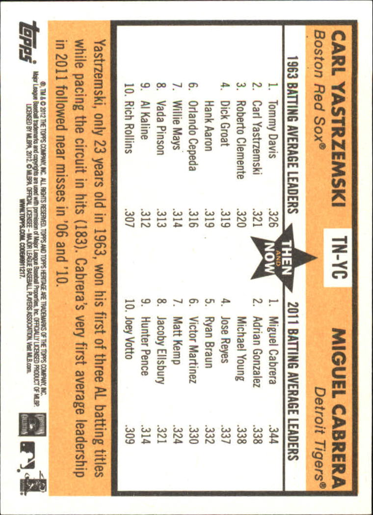 2012 Topps Heritage Then and Now #YC Carl Yastrzemski/Miguel Cabrera