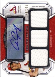 2012 Topps Museum Collection Signature Swatches Triple Relic Autographs #AC Allen Craig/209