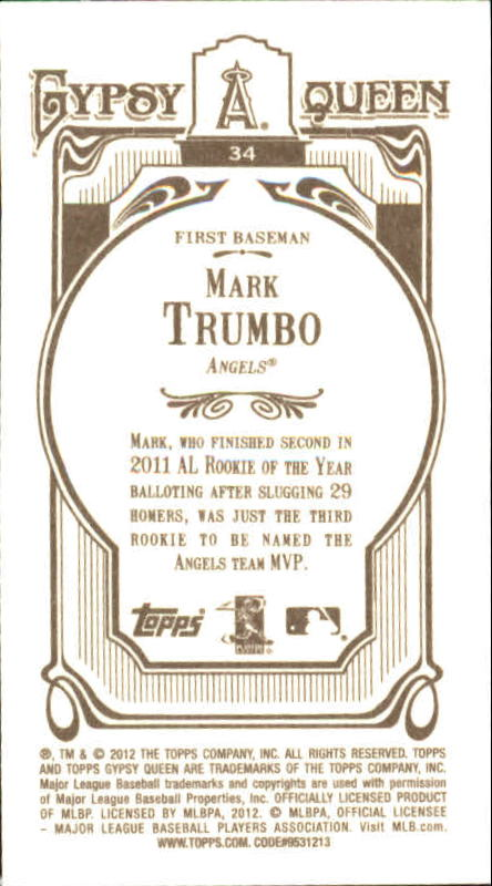 2012 Topps Gypsy Queen Mini #34A Mark Trumbo back image