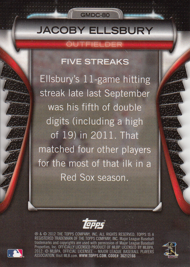 2012 Topps Golden Moments Die Cuts #GMDC80 Jacob Ellsbury