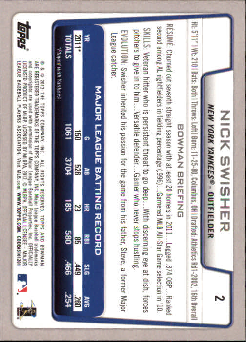 2012 Bowman #2 Nick Swisher back image