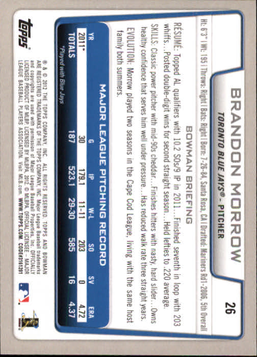 2012 Bowman #26 Brandon Morrow