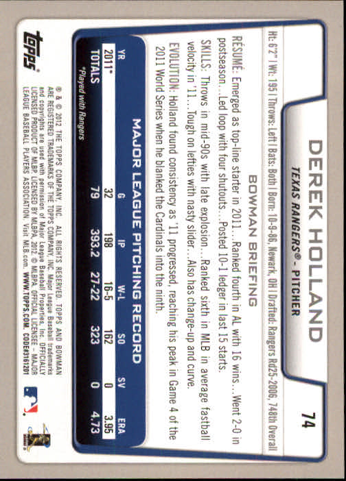 2012 Bowman #74 Derek Holland
