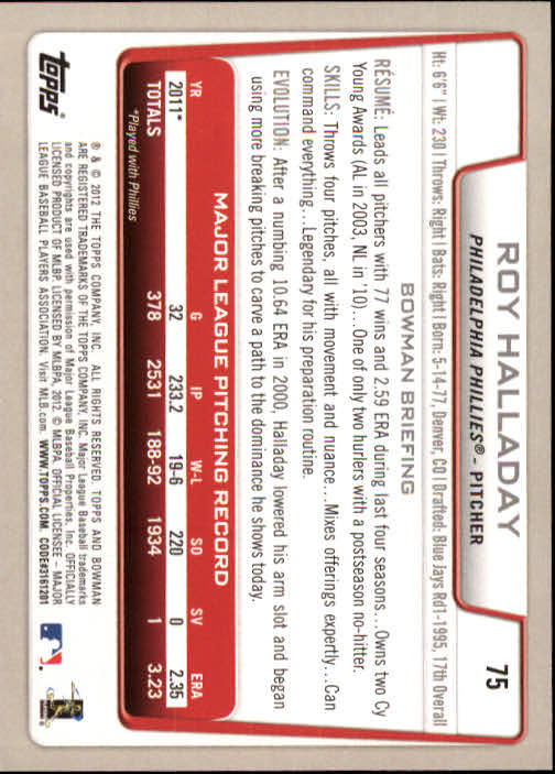 2012 Bowman #75 Roy Halladay