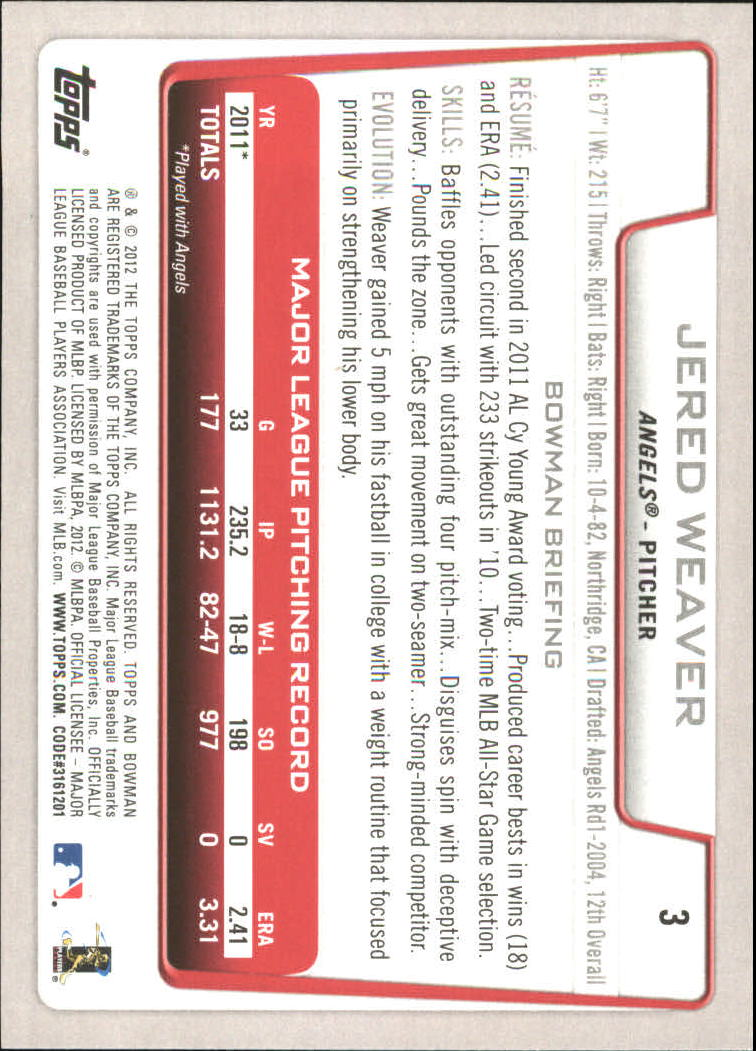 2012 Bowman Gold #3 Jered Weaver back image