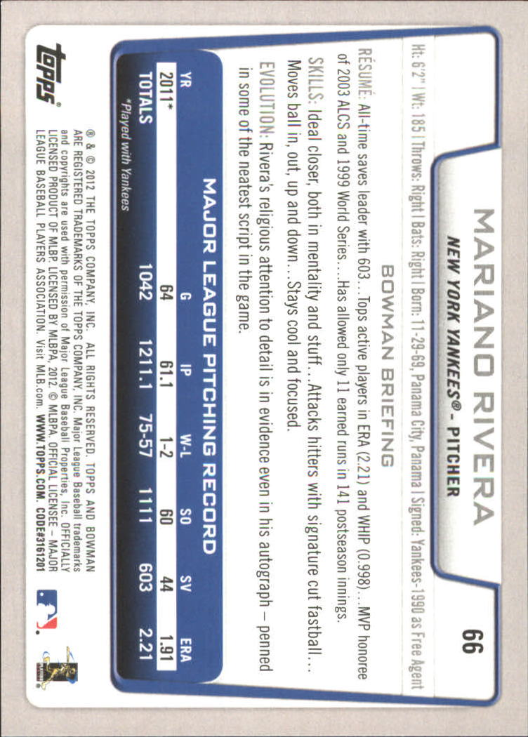 2012 Bowman Gold #66 Mariano Rivera back image