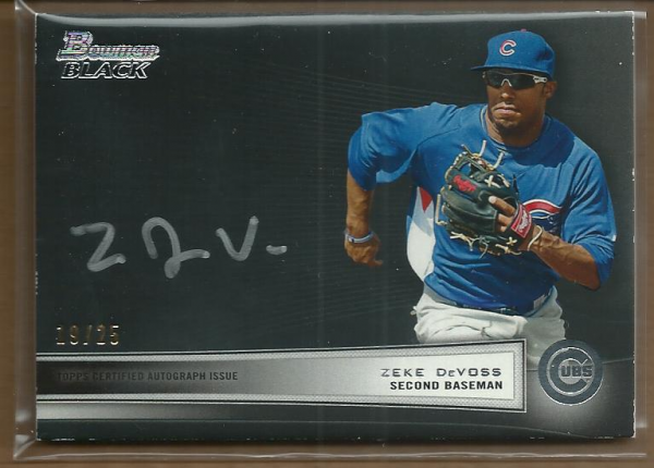 2012 Bowman Black Collection Autographs #ZD Zeke DeVoss BC
