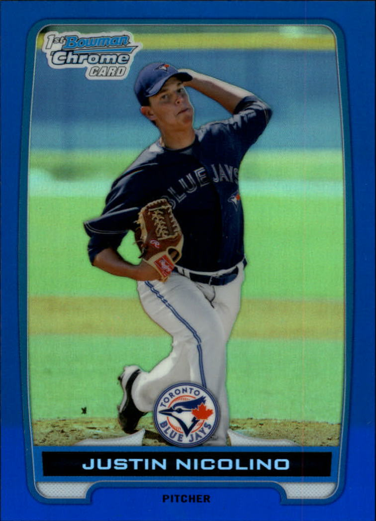 2012 Bowman Chrome Prospects Blue Refractors #BCP1 Justin Nicolino