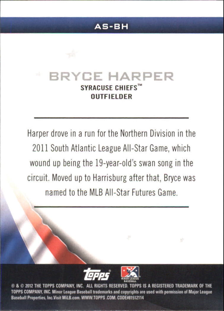 2012 Topps Pro Debut Minor League All-Stars #BH Bryce Harper back image