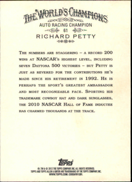 2012 Topps Allen and Ginter #61 Richard Petty back image