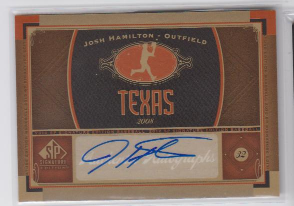2012 SP Signature #TEX4 Josh Hamilton E