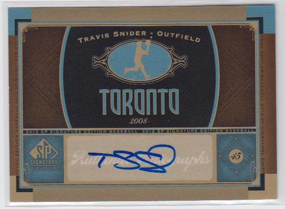 2012 SP Signature #TOR5 Travis Snider D