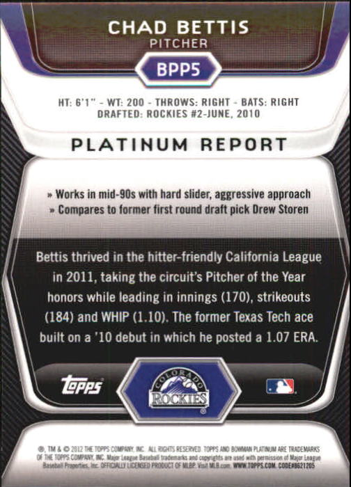 2012 Bowman Platinum Prospects Blue Refractors #BPP5 Chad Bettis back image