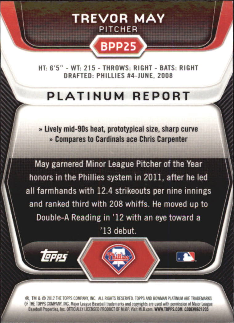 2012 Bowman Platinum Prospects Purple Refractors #BPP25 Trevor May