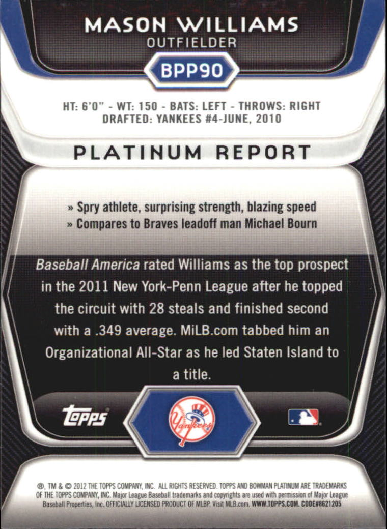 2012 Bowman Platinum Prospects Purple Refractors #BPP90 Mason Williams