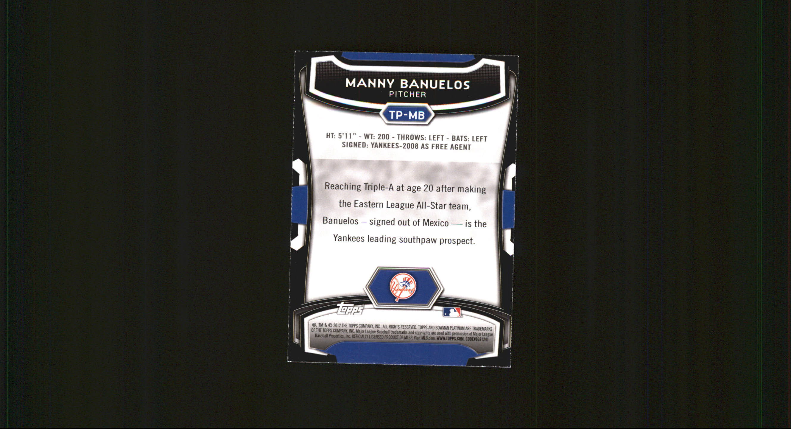 2012 Bowman Platinum Top Prospects #MB Manny Banuelos