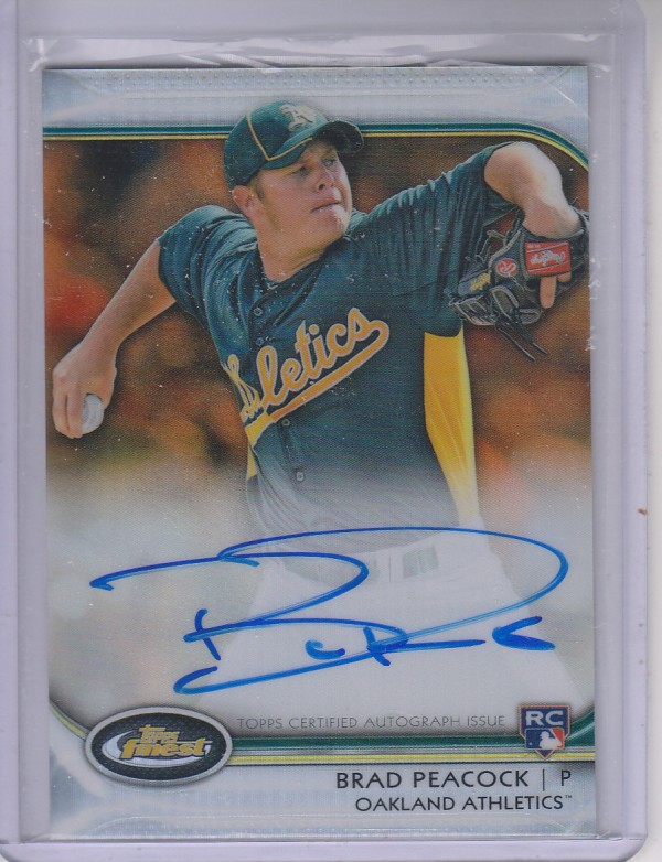 2012 Finest Rookie Autographs Orange Refractors #BP Brad Peacock