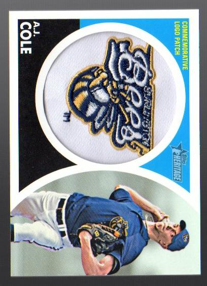 2012 Topps Heritage Minors Manufactured Cap Logo #AC A.J. Cole EXCH