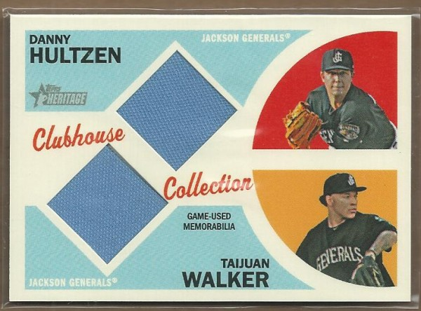 2012 Topps Heritage Minors Clubhouse Collection Dual Relics #HW Danny Hultzen/Taijuan Walker