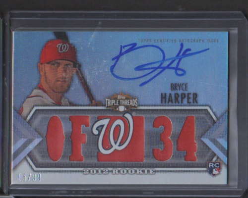 2012 Topps Triple Threads #129 Bryce Harper Jsy AU RC