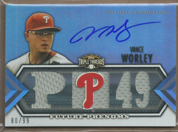 2012 Topps Triple Threads #137 Vance Worley Jsy AU