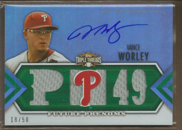 2012 Topps Triple Threads Emerald #137 Vance Worley Jsy AU