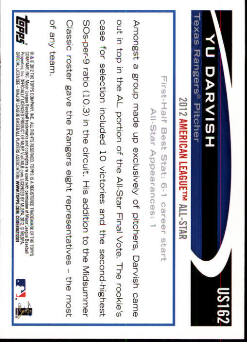 2012 Topps Update #US162A Yu Darvish RC back image