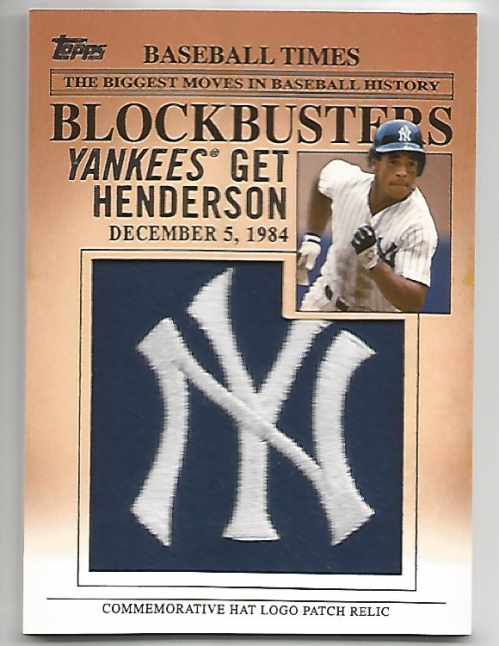 2012 Topps Update Blockbusters Commemorative Hat Logo Patch #BP11 Rickey Henderson