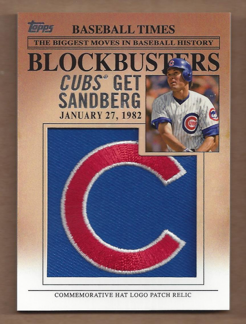2012 Topps Update Blockbusters Commemorative Hat Logo Patch #BP19 Ryne Sandberg