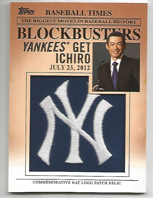 2012 Topps Update Blockbusters Commemorative Hat Logo Patch #BP23 Ichiro Suzuki