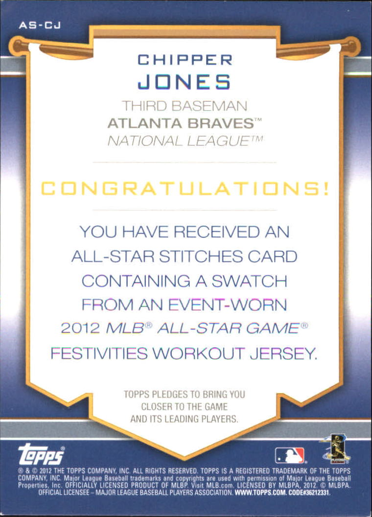 2012 Topps Update All-Star Stitches #CJ Chipper Jones back image