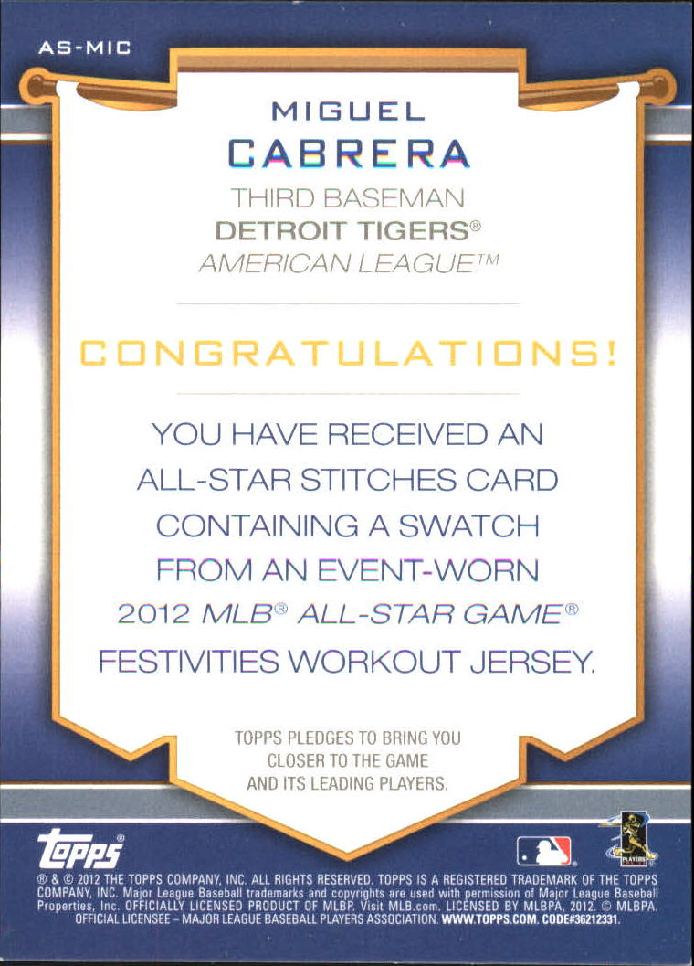 2012 Topps Update All-Star Stitches #MIC Miguel Cabrera back image