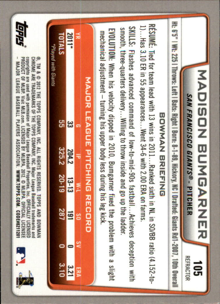 2012 Bowman Chrome Refractors #105 Madison Bumgarner back image