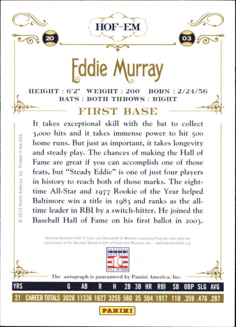 2012 Panini Cooperstown Signatures #34 Eddie Murray/100 back image